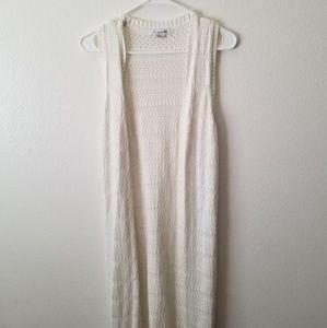 Forever21 white crochet long shawl